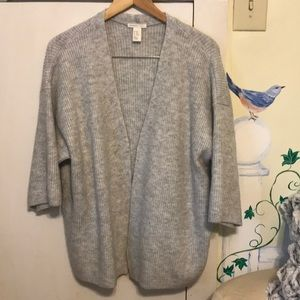 H&M light grey open cardigan sweater